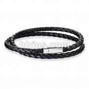 Double Wrap Black Bolo Braided Cord with Magnetic Stainless Steel Clasp Leather Bracelet