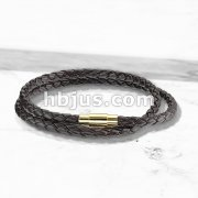 Double Wrap Dark Brown Bolo Braided Cord with Gold IP Magnetic Stainless Steel Clasp Leather Bracelet