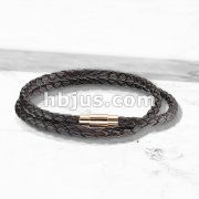 Double Wrap Dark Brown Bolo Braided Cord with Rose IP Magnetic Stainless Steel Clasp Leather Bracelet