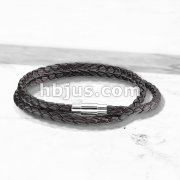 Double Wrap Dark Brown Bolo Braided Cord Magnetic Stainless Steel Clasp Leather Bracelet