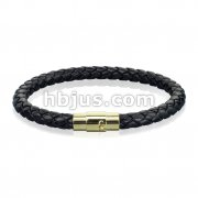Black Bolo Braided Cord with Gold IP Magnetic Stainless Steel Clasp Leather Bracelet