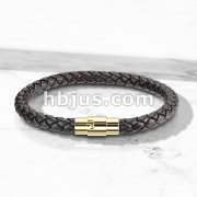 Dark Brown Bolo Braided Cord with Gold IP Magnetic Stainless Steel Clasp Leather Bracelet