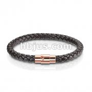 Dark Brown Bolo Braided Cord with Rose Gold IP Magnetic Stainless Steel Clasp Leather Bracelet