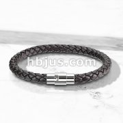 Dark Brown Bolo Braided Cord with Magnetic Stainless Steel Clasp Leather Bracelet