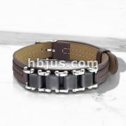 Black Bicycle Chain on Tan Leather Bracelet with Buckle Style Closing