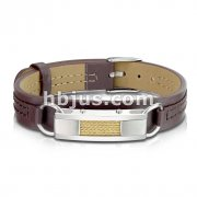 Brushed Steel with Gold Wires Center Plate Tan Leather Bracelet with Buckle Style Closing