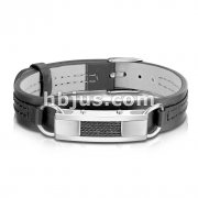 Brushed Steel with Black Wires Center Plate Black Leather Bracelet with Buckle Style Closing