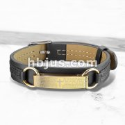 Gold IP Lord Prayer Plate Black Leather Bracelet with Buckle Style Closing