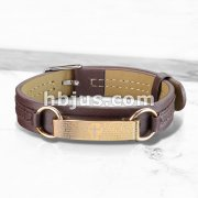 Rose Gold Lord Prayer Plate Tan Leather Bracelet with Buckle Style Closing