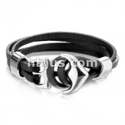 Stainless Steel Anchor Hook Adjustable Multi Strip Black PU Leatherette Bracelet