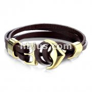 Gold Plated 316L Surgical Steel Steel Anchor Hook Adjustable Multi Strip PU Leatherette Bracelets