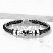 Cross Charm Bolo Cord with Magnetic Stainless Steel Clasp Leather Bracelet