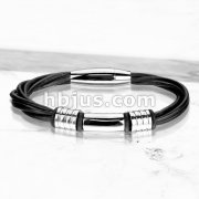 Stainless Steel Charm Twisted Multi Strands Magnetic Clasp Leather Bracelet