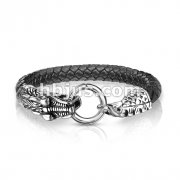 Dragon Clasp Black Bolo Leather Cord Stainless Steel Bracelet