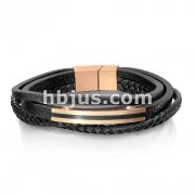Black and Rose Gold Stripe Charm Multi Strand Leather Bracelets with Slide in Magnetic Clasp