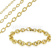 Plain Cable Chain Gold IP Stainless Steel Bracelet