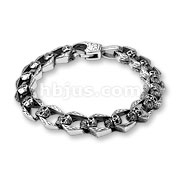 Linked Skulls Stainless Steel Bracelets