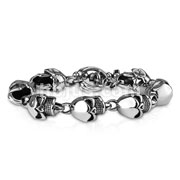 Large Skull Linked Stainless Steel Bracelets