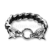 Stainless Steel Casted Wolves Two Tone Leather and Stainless Steel Bracelets