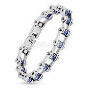 Bicycle Chain Blue Gem Link 316L Stainless Steel Bracelet