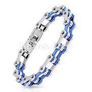 Bicycle Chain with Blue Inner Plate Clear Gem Link 316L Stainless Steel Bracelet