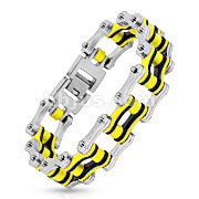 Bicycle Chain with Black/Yellow Inner Plate Link 316L Stainless Steel Bracelet