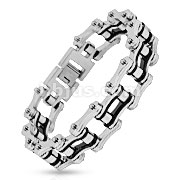 Bicycle Chain with Black Inner Plate Link 316L Stainless Steel Bracelet