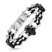 Bicycle Chain with Skull Black Inner Plate Link 316L Stainless Steel Bracelet