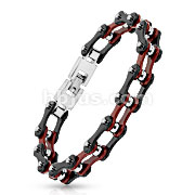 Bicycle Chain with Black Outer/Burgundy Inner Plate Link 316L Stainless Steel Bracelet