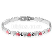 Pink and Silver Heart Stainless Steel Bracelet