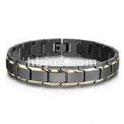 Matte Black with Gold Trimmed Links Stainless Steel Bracelet