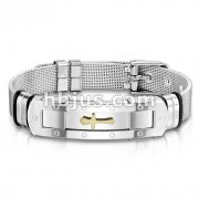 Gold Cross Plate Mesh Chain Stainless Steel Bracelet with Buckle Style Closing