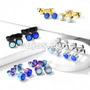 Pair of Round Opal Bezel Set 316L Stainless Steel Stud Earrings