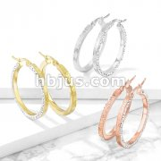 Pair of Stainless Steel Hoop Earrings with Maze Pattern and Crystal Paved Outer Side