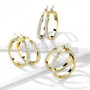 Pair of Maze Hoop with Crystal Paved Center Stainless Steel Earrings