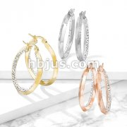 Pair of Maze Hoop with Crystal Paved Inner Edge Stainless Steel Earrings