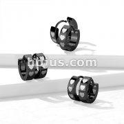 Pair of 316L Stainless Steel Black PVD Hinged Hoop Earrings with Three Hearts