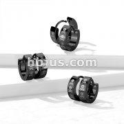 Pair of 316L Stainless Steel Black PVD Hinged Hoop Earrings with Three Skulls