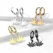 Pair of 316L Stainless Steel Hinged Hoop Earrings with Pot Leaf Dangle