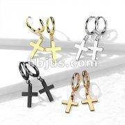 Pair of 316L Stainless Steel Hinged Hoop Earrings with Cross Dangle