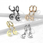 Pair of 316L Stainless Steel Hinged Hoop Earrings with Moon and Star Dangle