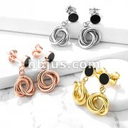 Pair of Round Black Enamel 316L Surgical Steel Stud Earrings with Multi Intertwined 10mm Circles Dangle