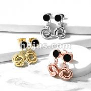 Pair of Round Black Enamel 316L Surgical Steel Stud Earrings with Multi Intertwined 8mm Circles Dangle