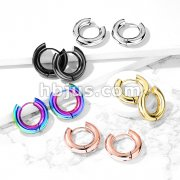 Pair of 5mm Thick 316L Stainless Steel Hinge Action Hoop Earrings