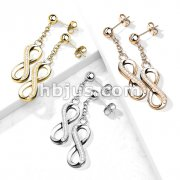 Pair of 316L Surgical Steel Ball Stud Post Earrings with Dangling CZ Paved Infinity