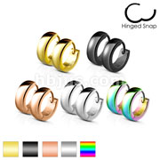 50 Pairs Classic Plain Dome 4mm Width Stainless Steel Earring Hoop Bulk Pack (10 Pair x 5 Colors)