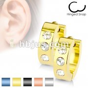 50 Pairs 316L Stainless Steel Hoop Earrings with 3-CZ Set Front Bulk Pack (10 Pairs x 5 Colors)
