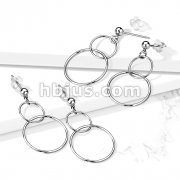 Pair of 316L Surgical Steel Earrings with Ball and Double Hoop Dangle
