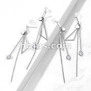 Pair of 316L Surgical Steel Abstract Earrings with Chain and Dangle CZ