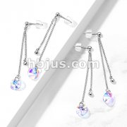 Pair of 316L Surgical Steel Earrings with Double Chain and Multi-Faceted Iridescent Charm